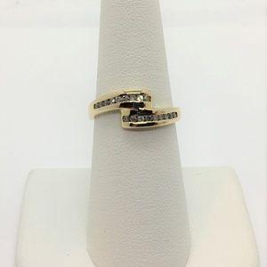 Jewelry - 14k Yellow Gold Split Band Diamond Ring CEI Size 7